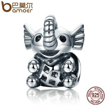 925 Sterling Silver Baby Elephant & Openwork Screw Animal Beads fit Charm Bracelet for Women Jewelry SCC202