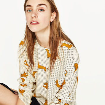SHORT BLOUSE WITH DOGS PRINT - NEW IN-WOMAN | ZARA United States
