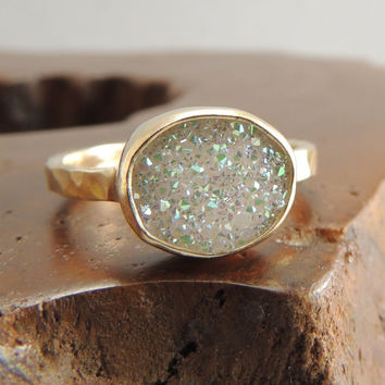14k Gold White Druzy Quartz Ring, Engagement Ring, Rough Stone Ring, Drusy, Raw, Uncut, Handmade Engagement Ring, Recycled
