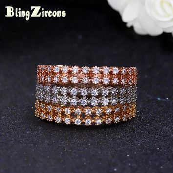 BlingZircons Luxury Brand 3 Pcs Women Ring Set CZ Zircon Stone Crown Wedding Rings Jewelry Rose Gold  Color Rings Sets R029