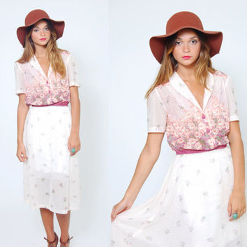 Vintage 70s FLORAL Dress Short Sleeve White Sun Dress Gradient Flower Print BLOUSON Midi Dress