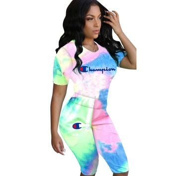 Champion Summer New Fashion Letter Print Multicolor Sports Leisure Top And Shorts Two Piece Suit Women