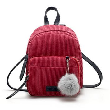 Backpack Women Fashion Corduroy Schoolbags For Teenage Girls Small Leather Backpack Women Mochila Travel Bag mochila feminina