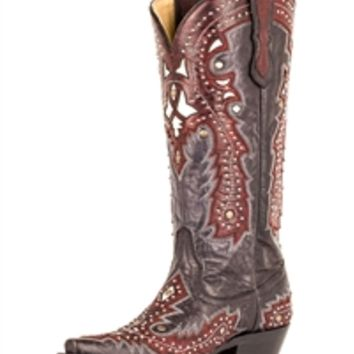Corral Black/Red Overlay with Studs G1035 | Boot Country Online