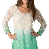 Angie® Women's Ivory to Green Ombré Floral Lace and Crochet 3/4 Sleeve Dress