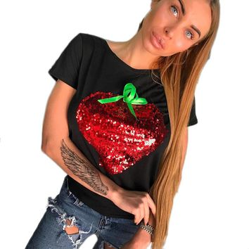 Strawberry Red Sequins Women Casual Short Sleeve Tops Shirt 2017 New Summer Ladies Loose T-shirt Cotton White Black