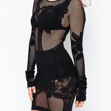 French Connection | French Connection Chalice Lace Bodystocking Dress at ASOS