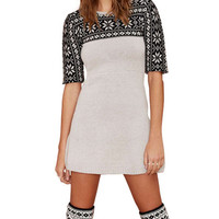 Black Snowflake Jacquard Short Sleeve Mini A-Line Sweater Dress
