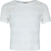 River Island Girls cream fitted lace top