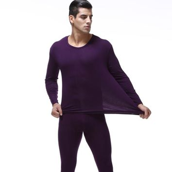 High Quality Plus Size 7XL man long Johns suits men Thin Modal Thermal underwear Sets o-neckTops and Pants