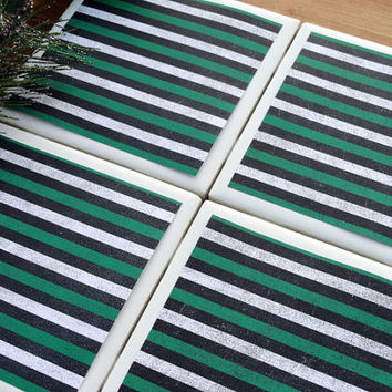 Striped Coasters, Green Coasters, Tile Coasters, Coasters, Coaster, Ceramic Coasters, Christmas Coasters, Holiday Coasters, Coaster Set of 4