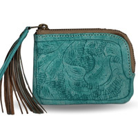 Sheridan Tooled Tassel Small Wallet - Vaquetta Teal
