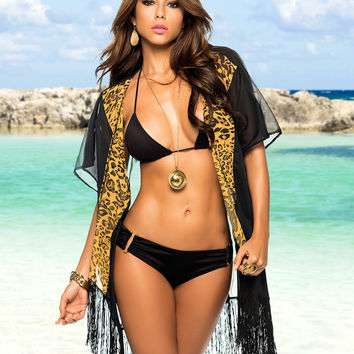 Fringed Beach Kimono-Swimwear Cover UP