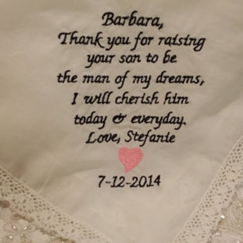 LACY Mother of the Groom Personalized Embroidered Wedding Handkerchief with FREE Sparkling Gift Envelope.