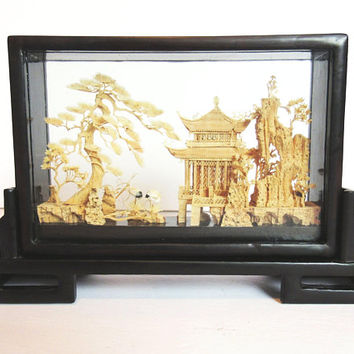 Vintage Cork Bamboo Art Sculpture / Lacquer Wood Glass Shadow Box