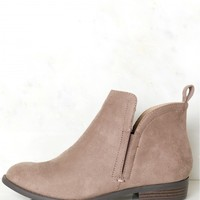 Suede Ankle Booties Smoke Taupe