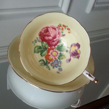 Antique Paragon yellow floral tea cup and saucer, bone china English tea set, footed tea cup, wedding gift