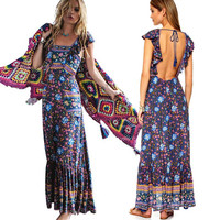 women dress summer long maxi dresses floral print cotton sexy robe backless boho hippie chic vestidos brand clothing