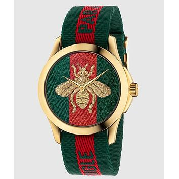 GUCCI bee or tiger icon, fashion, hot sale watch L-PS-XSDZBSH Green and red(bee)