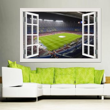High Quality 3d Wall Sticker Soccor Playground Decals Removable 3D Window View World Cup Wall Decal for Home Decor Wallpaper