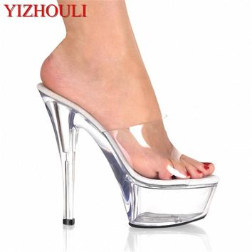 6261f4fe2375 Gorgeous 15cm Ultra High Heels Fashion Slippers Bride Sexy Cryst