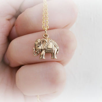 Mini gold elephant necklace - Gold plated Elephant charm - Tiny Elephant Charm - Yoga Jewelry - India Inspired - Gifts for Her - Bohemian