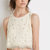 Embellished Chiffon Crop Top