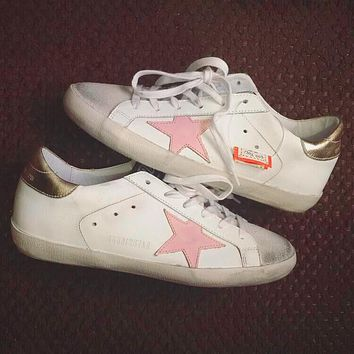 GGDB STAR Gold Goose Fashion Women Men Classic Shoes Flat Star White Shoes Pink Star
