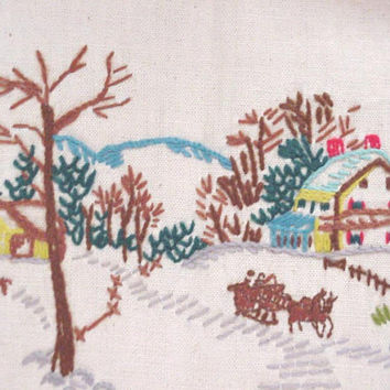 Winter Snow Scene Sleigh Ride Crewel Hand Embroidery VIntage Stitchery on Linen itsyourcountry