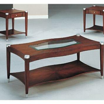 3 pc contemporary curved style dark brown finish wood coffee table set with glass inlay