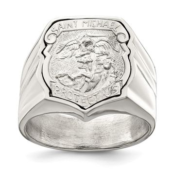 925 Sterling Silver Men's Saint Michael Ring