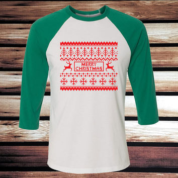 Men's Ugly Christmas Sweater Baseball Tee - Ugly Christmas Sweater T-Shirt - 3/4 Sleeve Baseball Tee - Green and Red Ugly Christmas Tee
