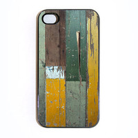 iphone 4 case Wall Texture 12 with Green and Mustard by wallsparks