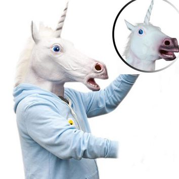 Fancy Unicorn Horse Head Mask Latex Prop Animal Cosplay Costume Party Halloween Mask clothes Headwear