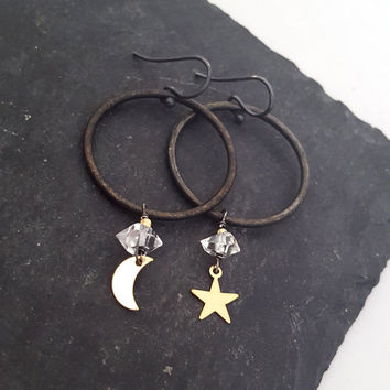 Mixed Metal Moon Star Earrings, Dangle Charm Hoops, Herkimer Diamond Hoop Earrings, Black Hoop, Gold Star Moon Charm Crystal Earrings, Edgy