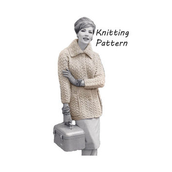 Woman's Coat in Textured Stitch Knitting Pattern || Vintage 1960's || Reproduction PDF Instant Download 983-TC52