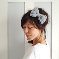 Crochet Bow Hair Band Dove Grey by ChiChiDee on Etsy