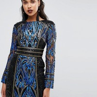 Boohoo Premium Long Sleeve Sequin Dress at asos.com