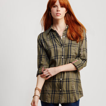 Long Sleeve Plaid Southwest Woven Shirt