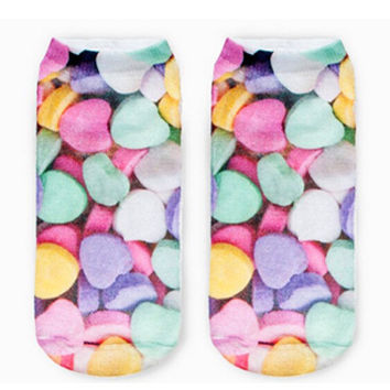 Foodie Ankle Socks- Candy Hearts