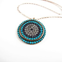 Turquoise evil eye necklace,14K Solid Gold Golden Evil Eye,Charm Necklace, kaballah