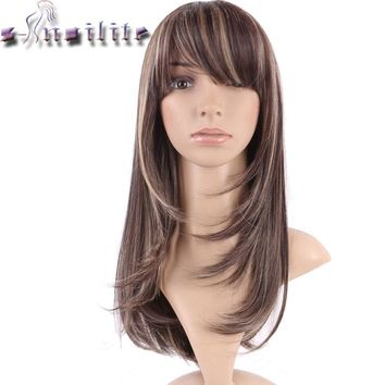 S-noilite Hair Straight Brown blonde Synthetic Wig With Bangs For Black Women Fake Hair Heat Resistant Wigs For African American