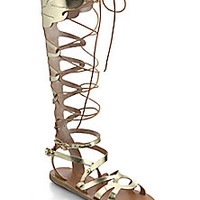 Ancient Greek Sandals - Odyssey Metallic Leather Gladiator Sandals - Saks Fifth Avenue Mobile