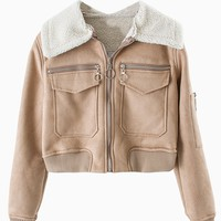 Brown Faux Shearling Pocket Cropped Jacket