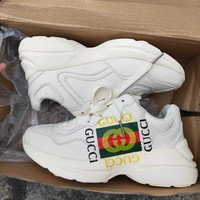 GUCCI street fashion men and women models double G printing breathable sports running shoes