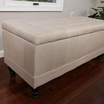 New Century® Linen Tufted Large Ottoman Storage Bench, Ivory