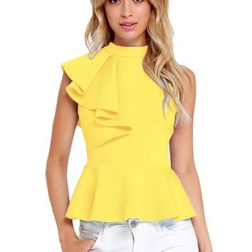 2017 New High Quality Women Ruffle Side Casual Peplum Top Shirt Fashion women blouse Black/Yellow/White/Wine Red/Blue Hot Sale