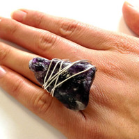 Purple fluorite ring - raw stone ring - size 6 1/2  ring - wrapped ring - natural stone ring - silver ring - cocktail ring - chunky ring