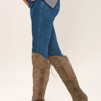 Margaery Taupe Suede Knee High Boots