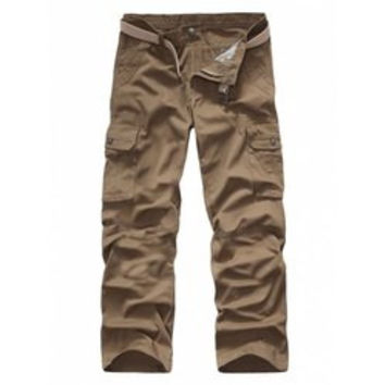 Pocket Rivet Snap Button Zipper Fly Cargo Pants